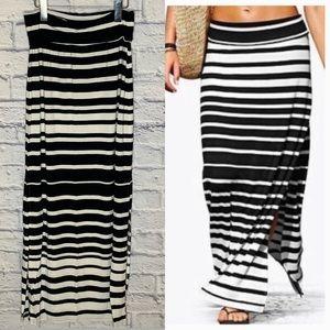 ATHLETA Fold Waist Striped Maxi Skirt